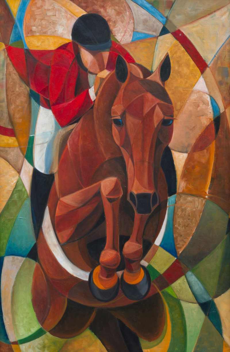 Abstract horse jumping painting