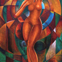 Semi-abstract oil Painting of a naked woman